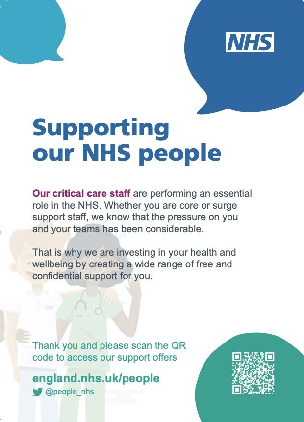 Critical Care Health and Wellbeing Support Postcard