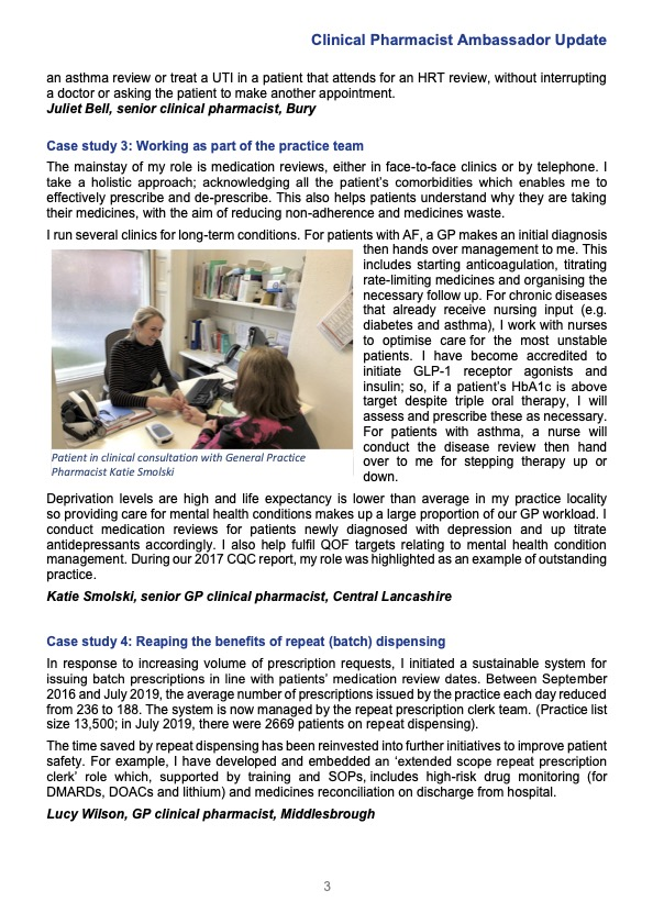 Clinical Pharmacist Ambassador Update Jan203
